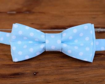 Mens Light Blue Bow Tie, men's blue white dot cotton bowtie, pre-tied and adjustable bowtie