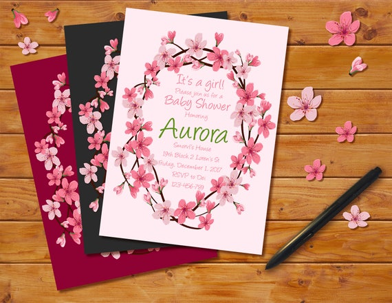 Cherry blossoms baby shower invitation floral theme cherry filmwisefo
