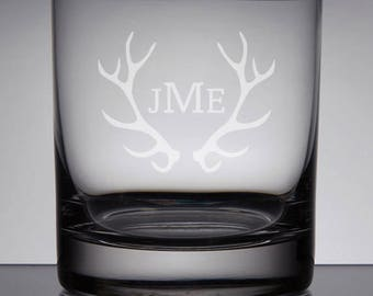 Groomsmen Gift Engraved Rocks Glass, Monogram Whiskey Glass, Bourbon, Monogram Groomsman, Gifts for Groomsmen, Deer Antlers, Wedding Gift