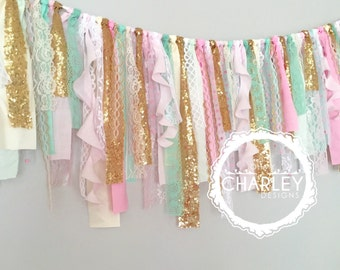 Pink, Mint & Gold sequin curly fabric garland banner - photo prop, cake smash, backdrop, curtain valance