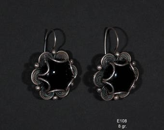 Silver earrings filigree E108-8g