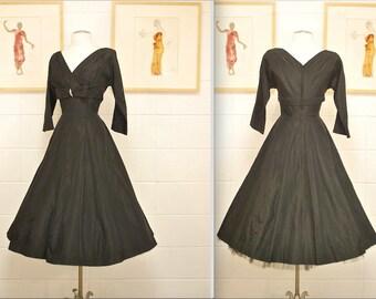 1950's Black Taffeta Party Dress with Rhinestone Detail / Evening Dress / Mad Men / Rockabilly / Rare Collectable Retro