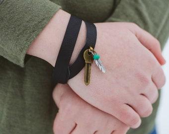 Key Feather Charm Repurposed Black Leather Wrap Bracelet Adjustable