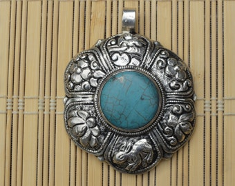 Hand-made Nepali pendant, Silver plated with Turquoise
