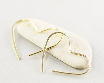 Gold Heart Hoops, Small Heart Earrings, Love, Valentines Day