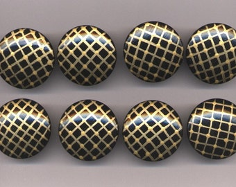 BLACK and GOLD - Dresser Drawer Knobs PULLS - Set of 8 - Great for Girly Office or Bedroom
