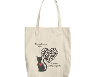 The Road to My Heart is Paved With Paw Prints Cat Design Market Book Tote Bag
