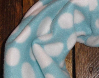 ON SALE Women's Fleece Infinity Scarf // Aqua // White // Polka Dots // Accessories// Gifts for Her // Gift for Mom