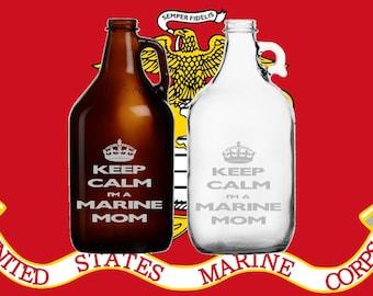 Keep Calm Marine Mom 64oz etched Growler