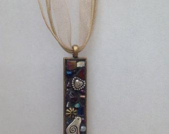 Gold Rectangle Mosaic Necklace Pendant