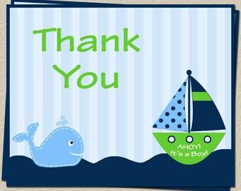 Ahoy It's A Boy Whale, Green, Boy, Thank-You Cards - 80