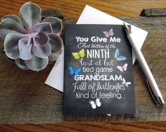 Chalkboard card, Inspirational, beautiful gift. Butterflies, baseball, love quote. Motivational blackboard card. FREE SHIPPING!