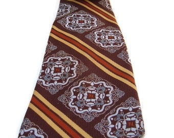 MOD Groovy Vintage Haband's Men's Neck tie Brown Yellow polyester Necktie gifts for him