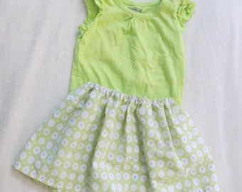 Eco-Friendly Summer Size 18 month lime green onesie with ruffled sleeves matching floral skirt. Unique Boutique