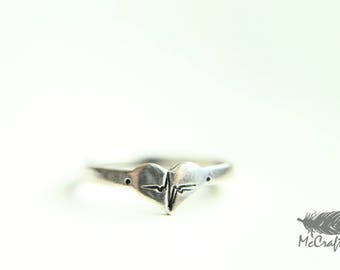 Customizable Sterling Silver EKG Ring