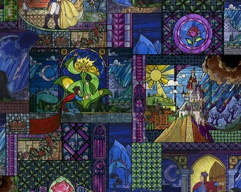 END of BOLT - 1 yard plus - Beauty and the Beast Stained Glass fabric - Disney Print - Springs Creative - cotton quilting fabric - REMNANT