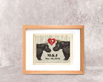 Funny hippos in love print-hippos print-hippo print-dictionary hippo print-Hippo on book page-funny animal print-by NATURA PICTA-NPDP076