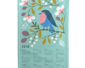 2018 Tea Towel Calendar - Robin Floral tea towel calendar 2018 by Heleen_vd_thillart - Linen Cotton Tea Towel Set by Roostery w/ Spoonflower