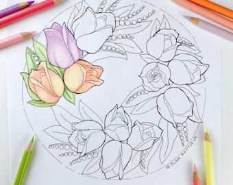 Adult coloring page Tulip Wreath | Tulip Flower Coloring Page for Adults | Digital Coloring Hand Drawn Flowers Line Art by Olga Zaytseva