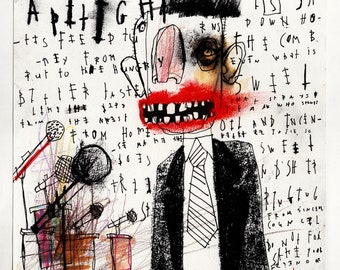 Press Conference - Original Mixed Media Illustration / Collage