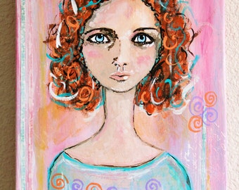 Girl With Red Curly Hair Original Mixed Media Art Original Acrylic Painting on  9 x 12 Canvas Art by Charlotte Littlejohn