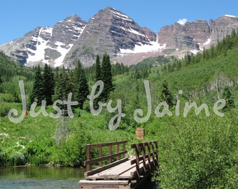 Bridge to Maroon Bells professionally printed photo -- available in 5x7 or 8x10 (larger sizes by request) - matte finish