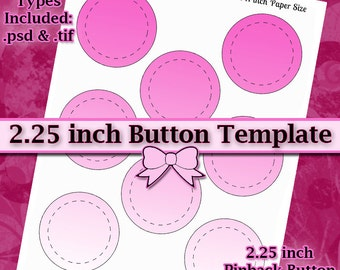 2.25 Inch Button Machine TEMPLATE DIY DIGITAL Collage Sheet 8.5x11 Page with Video Tutorial Instructions (Instant Download)