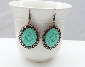 nd-Vintage Style Oval Copper and Seafoam Rose Cameo Dangle Earrings
