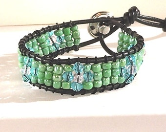 Seed Bead -  Wrap Bracelet - Leather Cord - Metal Button Clasp