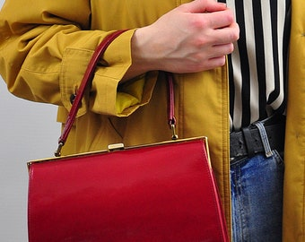 Vintage 1970's Red Patent Leather Top Handle Kelly Bag