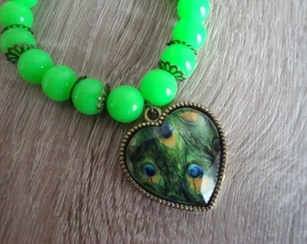 Neon Green bracelet, Peacock feather heart charm, 18cm