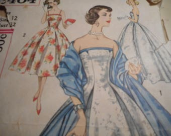 Vintage 1950's Simplicity 2404 Evening Dress and Stole Sewing Pattern Size 12 Bust 32