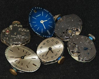 Vintage Antique Round Bulova Watch Movements with Dials Faces Steampunk Altered Art Assemblage RT 55