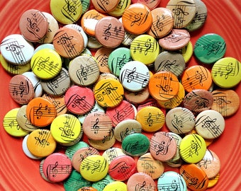 An Autumn Wedding  - Wedding Favors - 100 One of a Kind Handmade 1 Inch Pinback Buttons