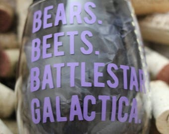 Bears. Beets. Battlestar Galactica. Stemless Wine Glass, LOL Gift, The Office, Funny Gifts, Dwight Schrute, Handmade Gift, Custom Gift