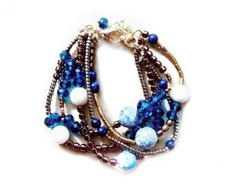 Blue bracelet for women, gemstone bracelet, jewelry gift for her, boho bracelet, beaded bracelet, gift for her, gift mom, birthday gift