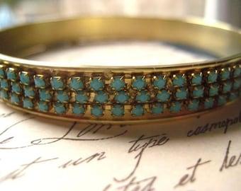 Bangle Bracelet, Vintage Bangle, Brass Bangle, Rhinestone Chain, Turquoisee Chain, Czech Crystals, Genuine Crystal, candies64