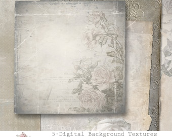 Shabby chic Papers, 12x12 Vintage Papers, torn edges, png format, scrapbooking, floral paper, digital background paper, cu ok, download