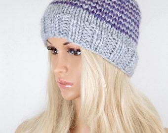 Knit Hat, Winter Hat, Beanie Hat, Pom Pom Hat, Pom Pom Beanie, Fall Hat, Slouchy Beanie Hat, Purple Grey Beanie Hat