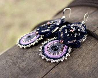 Statement jewelry | Navy blue earrings, Soutache earrings, Blue dangle earrings, Purple earrings Embroidered Violet seed bead earrings, Prom