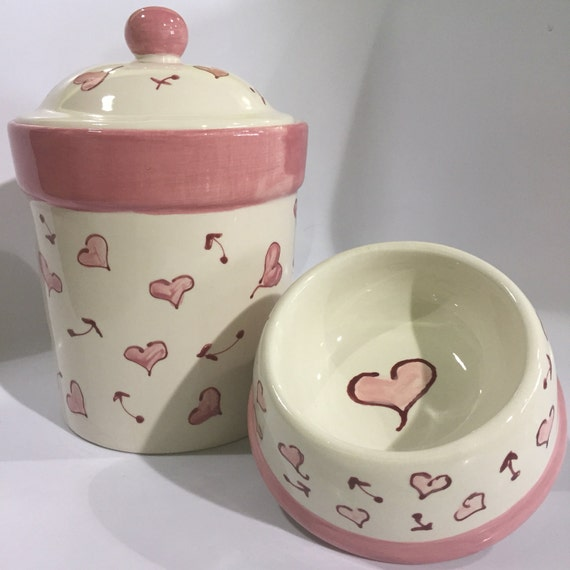 Pink Hearts Treat Canister