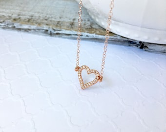 Rose Gold CZ Open Heart Necklace, Silver Pave Heart Necklace, Gold CZ Heart Necklace, Wedding Jewelry, Mother's Day Gift