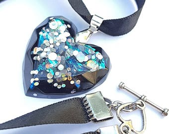 Black Heart Necklace, heart Ribbon necklace, resin Black Heart Necklace, woman, black necklace, Ribbon necklace, fashion necklace Heart Necklace