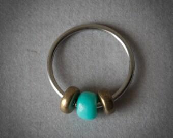 Turquoise Glass Cartilage Hoop Earring - Seam Ring, Septum, Tragus, Nose Ring, Upper Ear Piercing 18 Gauge, under 10 dollars, Daith, Helix