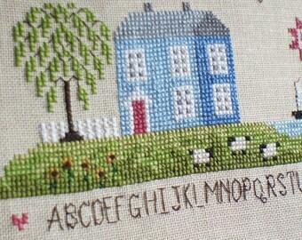Blue Sampler Homestead  - Primitive Cross Stitch House Kit