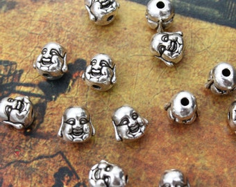 10 Happy Buddha Charms Antiqued Silver Tone 3D 10 x 10 mm