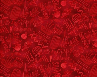 Autumn Road Words Red  ~ Quilting Fabric by  Katie Doucette  for Wilmington Fabircs