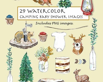 CLIP ART- Watercolor Camping Theme Baby Shower Party Set. 29 Images. Digital Download.