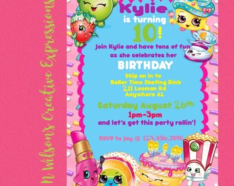 Fun, Playful Shopkins Birthday Party Invitation