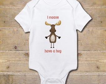 Moose Onesie, Moose, Woodland Animals, Baby Shower Gift, Moose Baby Clothes, Shirt, New Baby Gift, Baby Boy, Baby Girl, Adventure